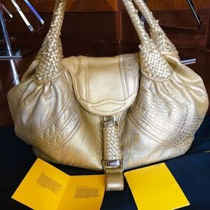 Fendi Gold Metallic Nappa Leather Spy Bag!